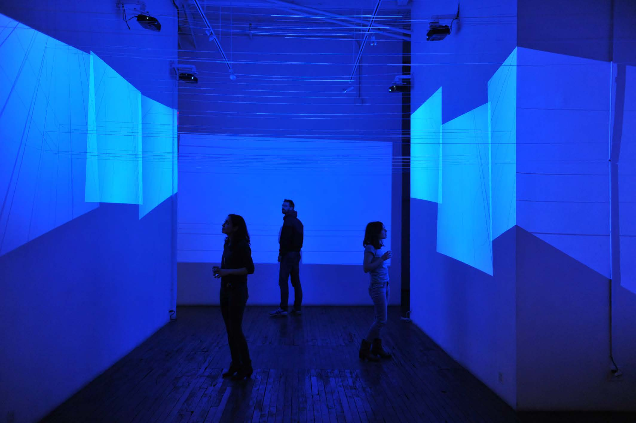 A Cielo Aperto   (2014), site specific 7 channels installation with plastic strings on walls, variable dimensions