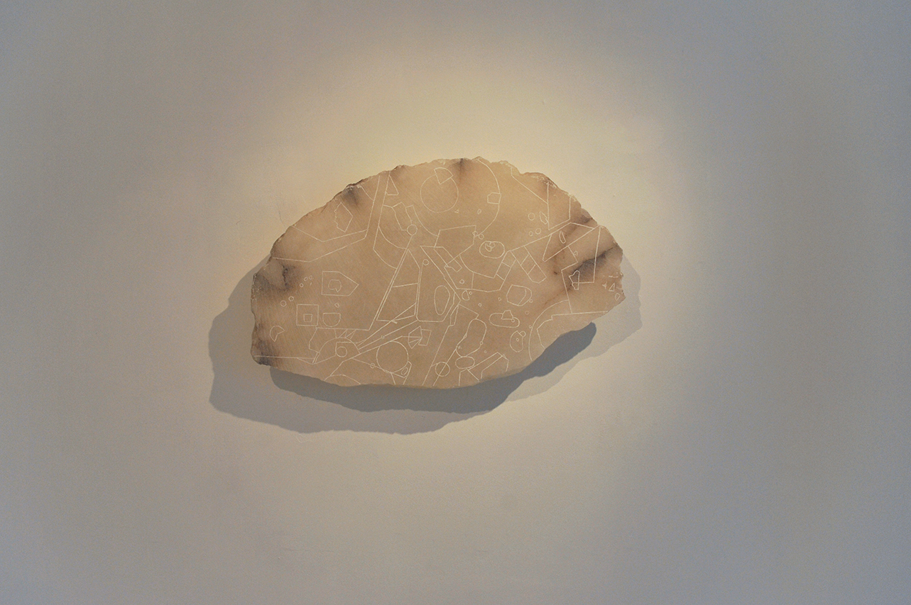 Low Flying Chart #7,  2016, carved alabaster slab depicting off-limit areas of the Sicilian sky in Italy