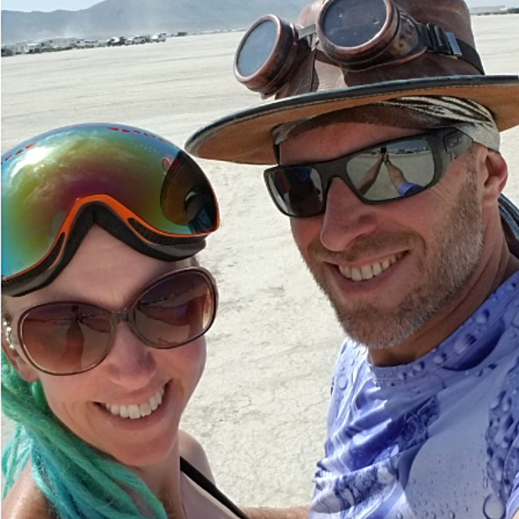 Eric & Kim  They love all things Burning Man and have discovered how to carry over the playa experiences year round.  13 burns for Eric and 9 for Kim. Eric is a Mechanical Engineer and has contributed to the suspension, truss and docking features. Kim helped solder wearables and contributes whenever she can. They're a power couple and have great dance moves to boot.