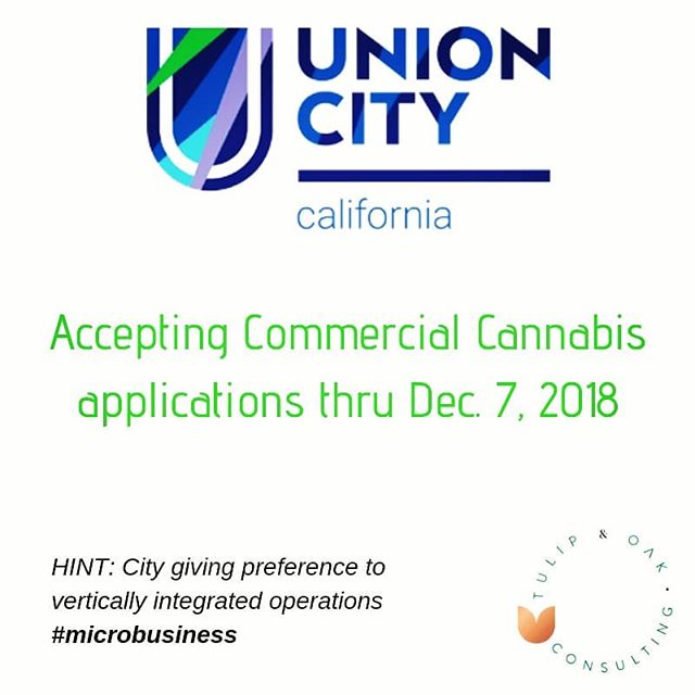#compliantcannabis on deck in Union City for Q4.  10 permits have been authorized, $2500 application fee.  Contact us to learn more #420consulting #cannabiscommunity #cannabusiness