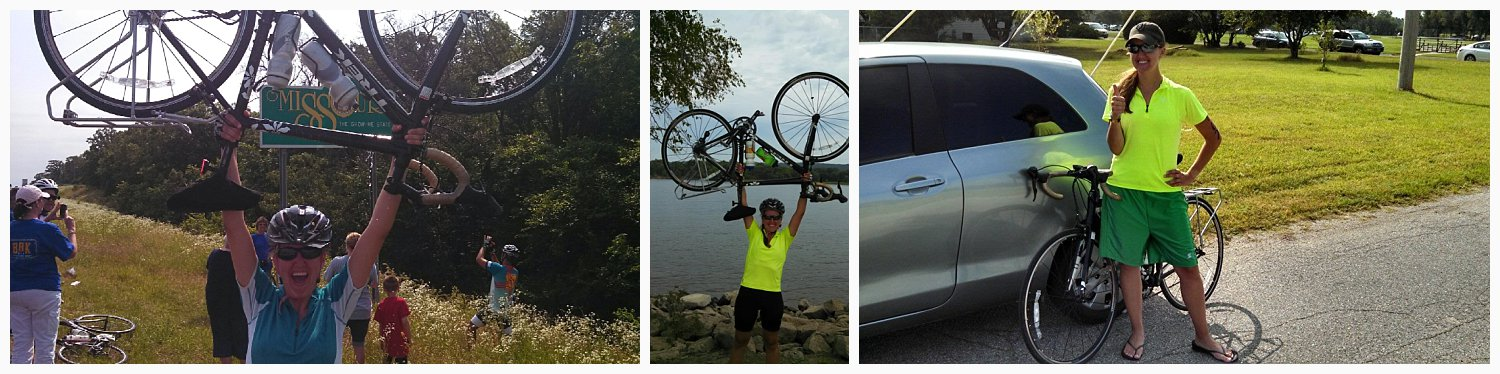 I biked across Kansas in 2013. The picture on the far left is me after I made it to the Missouri border after biking 522 miles in nine days. The middle picture is after I biked across Iowa the following summer (406 miles in seven days). The right is a picture of me after I completed the Salty Dog Triathlon in 2014.