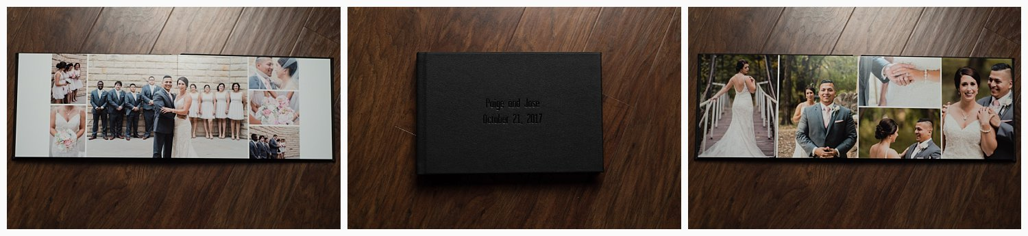 This album is genuine leather with a debossed, foil stamped cover and gilded edges. These particular spreads are done on thick pages, so you couldn't bend them if you wanted to. We work personally with every client to choose colors and styles that perfectly match their event.