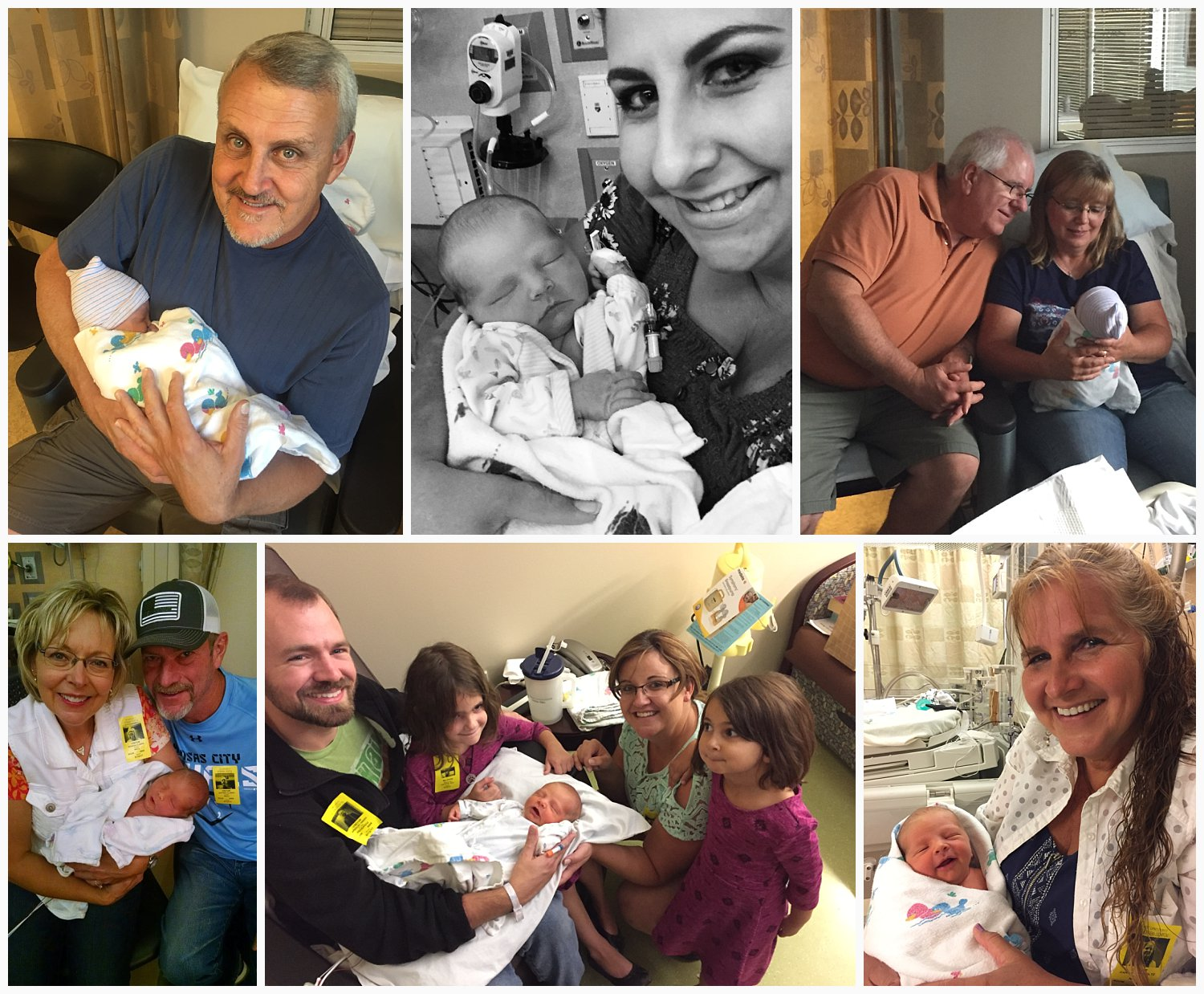 We had lots of visitors throughout our ten day hospital stay. The top left is my dad, followed by my sister, Krystal. Brad's mom and dad, James and Tanya, are pictured in the top right. The bottom left are Robbie and Jeff Clarke, dear friends of mine who Jameson took his middle name from. My sister Erica and her two girls also visited. In spite of being in the NICU, Jameson is flashing a grin for his picture with my mom (Grammy) in the bottom right. Not pictured are my grandma and Marlyn and Kathie Spare (a couple of friends from church) who made the trip to visit Monday, before Jameson was born.
