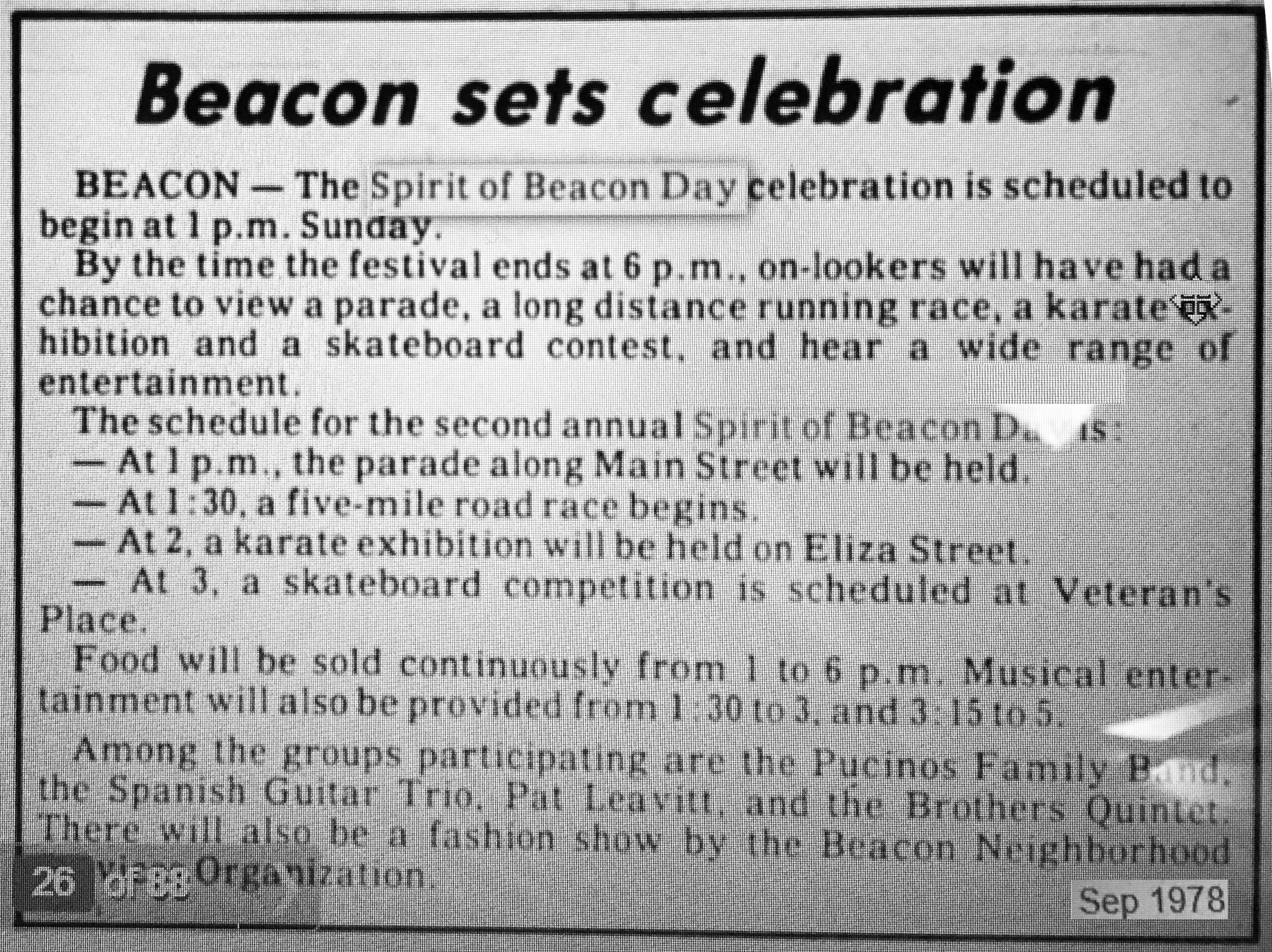 Beacon Evening News 1978, courtesy of the Beacon Historical Society