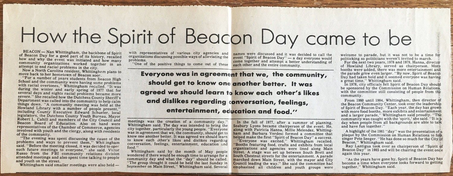 Beacon Evening News 1986, courtesy of the Beacon Historical Society