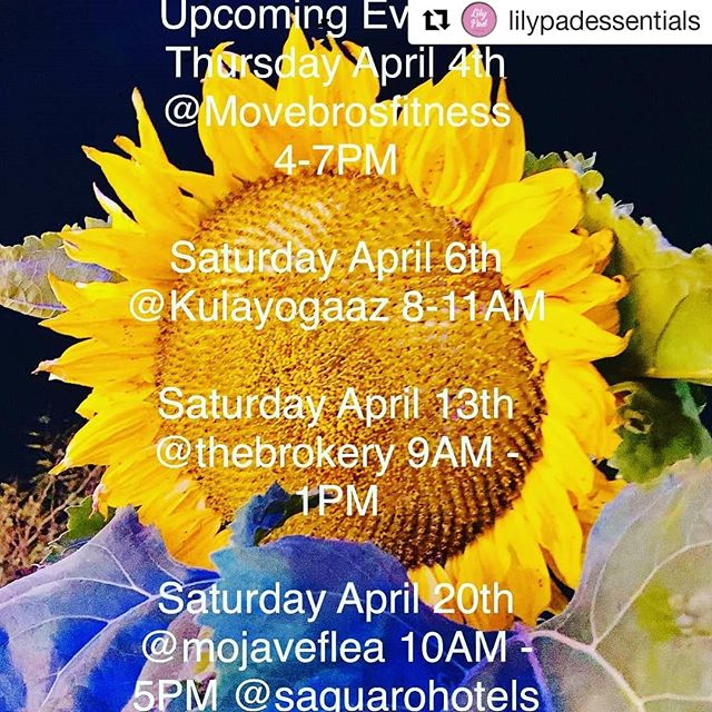 We're excited to have our friends at Lily Pad Essentials in this Thursday evening from 4-7pm. Come by for some amazing all-natural lotions, body scrubs, and more! . #Repost @lilypadessentials (@get_repost) ・・・ Happy Monday and happy first of April! We have some great events this month and couldn't be more excited for them! 🌵🎉 @movebrosfitness @kulayogaaz @thebrokery @mojaveflea @saguarohotels