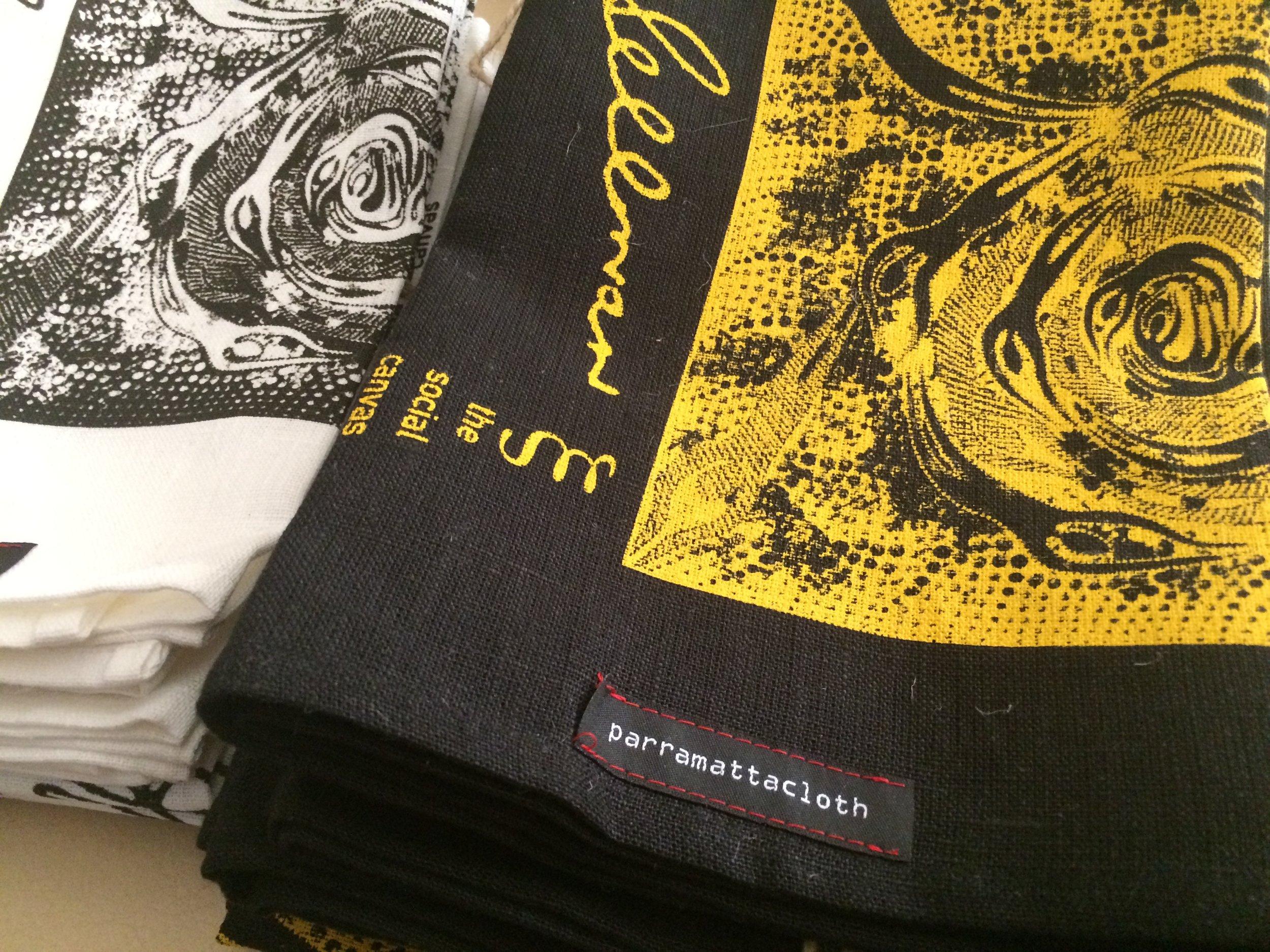100% flax linen Parramatta Cloth in black or natural off-white.