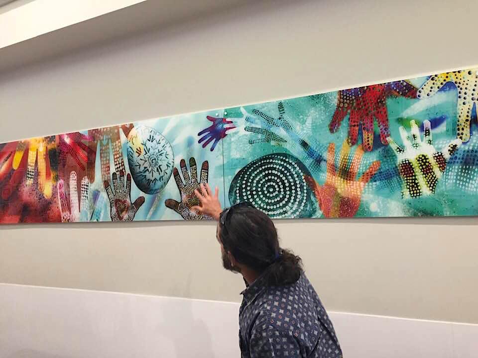 "Chris Tobin launches ""Warami Wellamabami"" mural by Geoff Sellman at Berala. (Photo Glenn Elmore 11 Oct 2018)"
