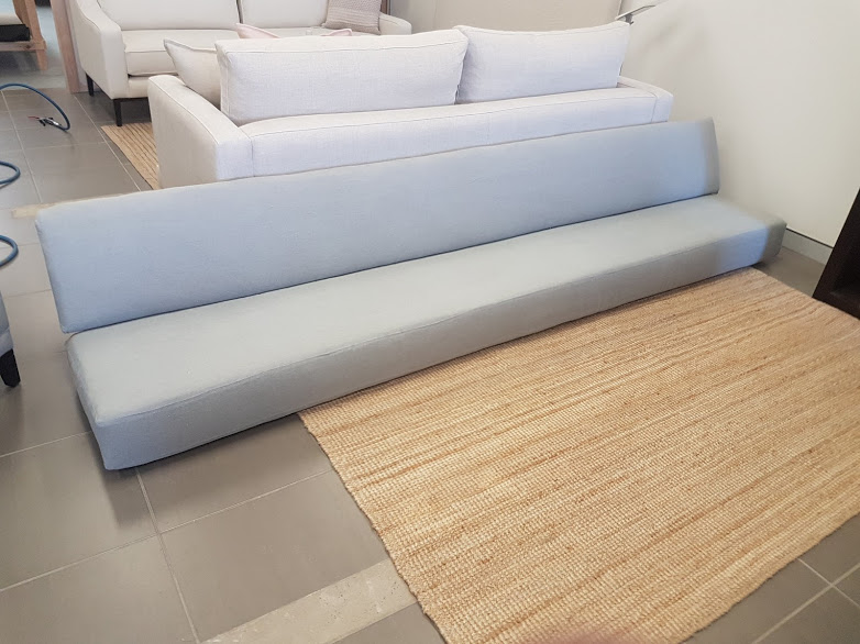 3m  Linen banquette seat & back split batten mounted
