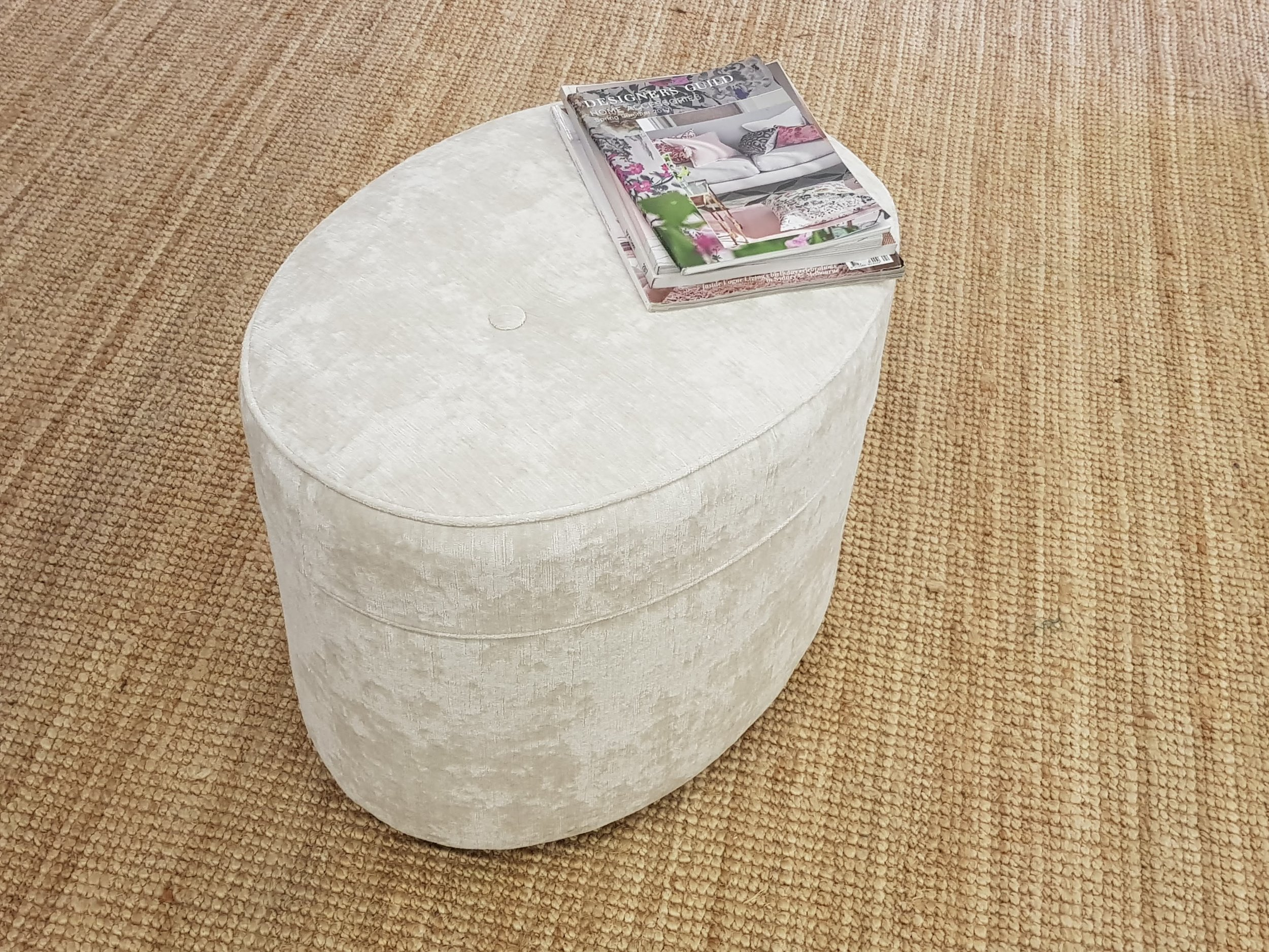 Oval  Piped Ottoman