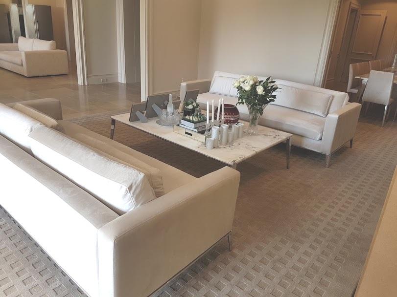 Formal setting velvet sofas & dining chairs