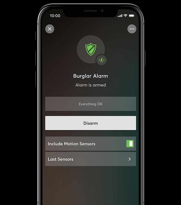 Alarma activată - Acest lucru se efectuează automat, în funcție de ora din zi, prin intermediul unui întrerupător sau prin utilizarea aplicației.Dispozitivele, cum ar fi senzorii de mișcare, servesc ca elemente de alarmă.