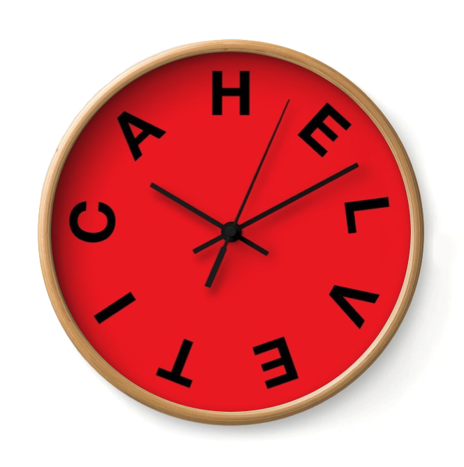 HELVETICLOCK   From the Timeless Type Series, this clock takes its queues from Eduard Hoffmann.     Buy Online