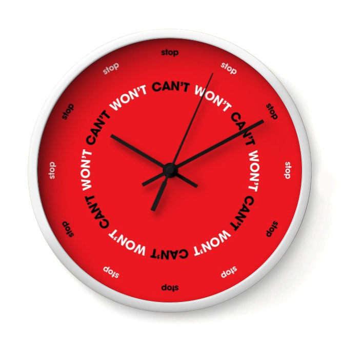 CAN'T STOP, WON'T STOP   This is the KRS-One of clocks. All day, it repeats the anthem that keeps you fighting the power.     Buy Online