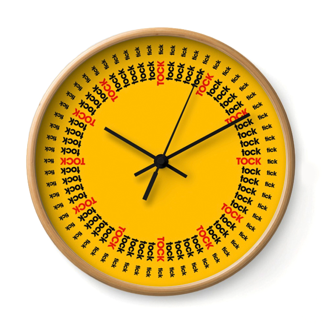 TICK TOCK   This clock is a pragmatist. It catalogs every hour, minute and second into a ledger of ticks and tocks.     Buy Online