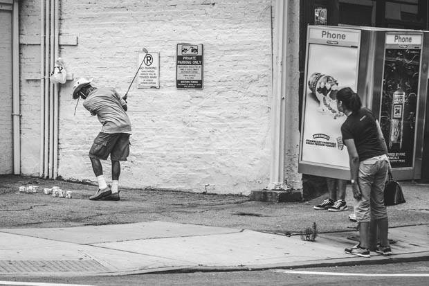 The milk carton golfer. 90mm © Napier Lopez