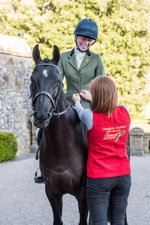Pictured  Isabelle Geran  riding Diptford Morning Haze with Imogen Carter, at a photo shoot both ambassadors attended.