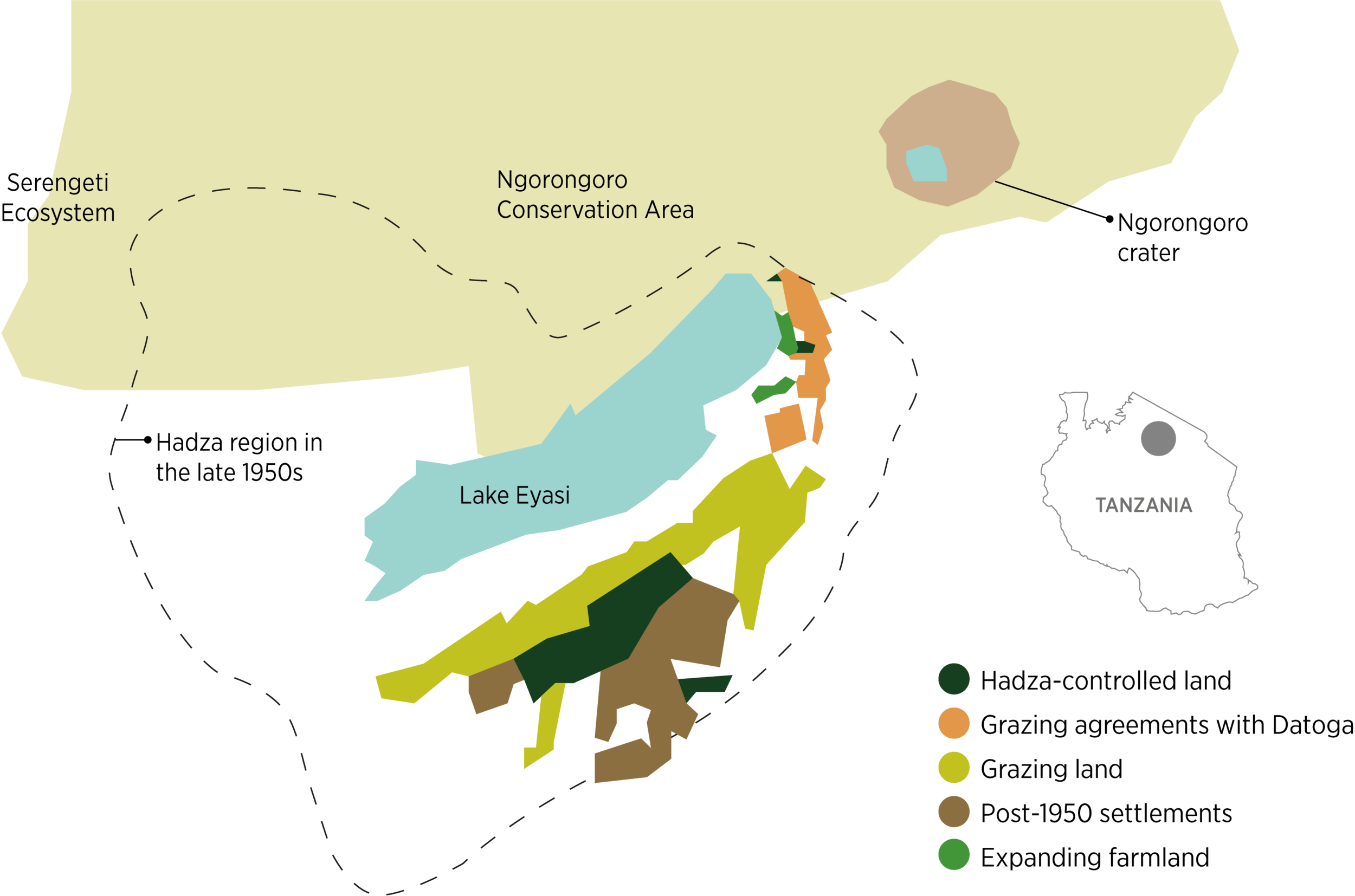 Map: UCRT's work on securing Hadza and Datoga land rights has helped create a corridor providing landscape connectivity and facilitating wildlife movement between the Yaeda Valley and the Ngorongoro Conservation Area.