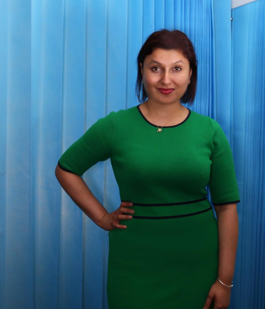 Dr Sweta Rai at work in the Wellington Hospital wearing 'Burst' necklace and bracelet.