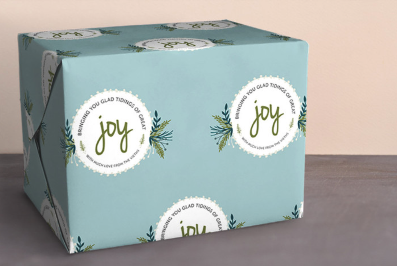 Wrapped with Joy Personalized Wrapping Paper in Frost
