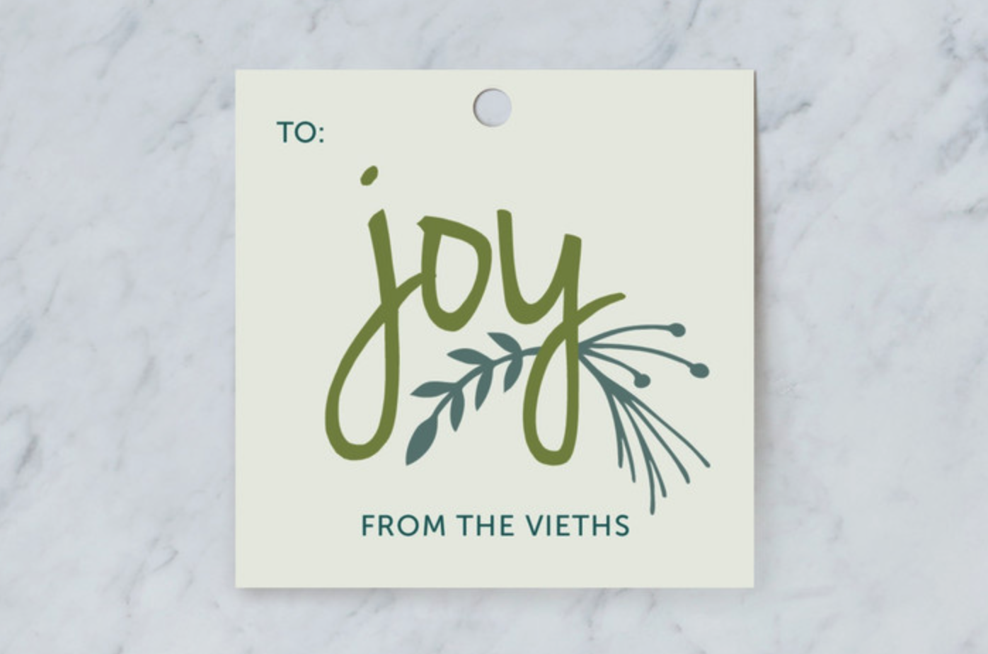 Wrapped with Joy Personalized Gift Tag in Frost