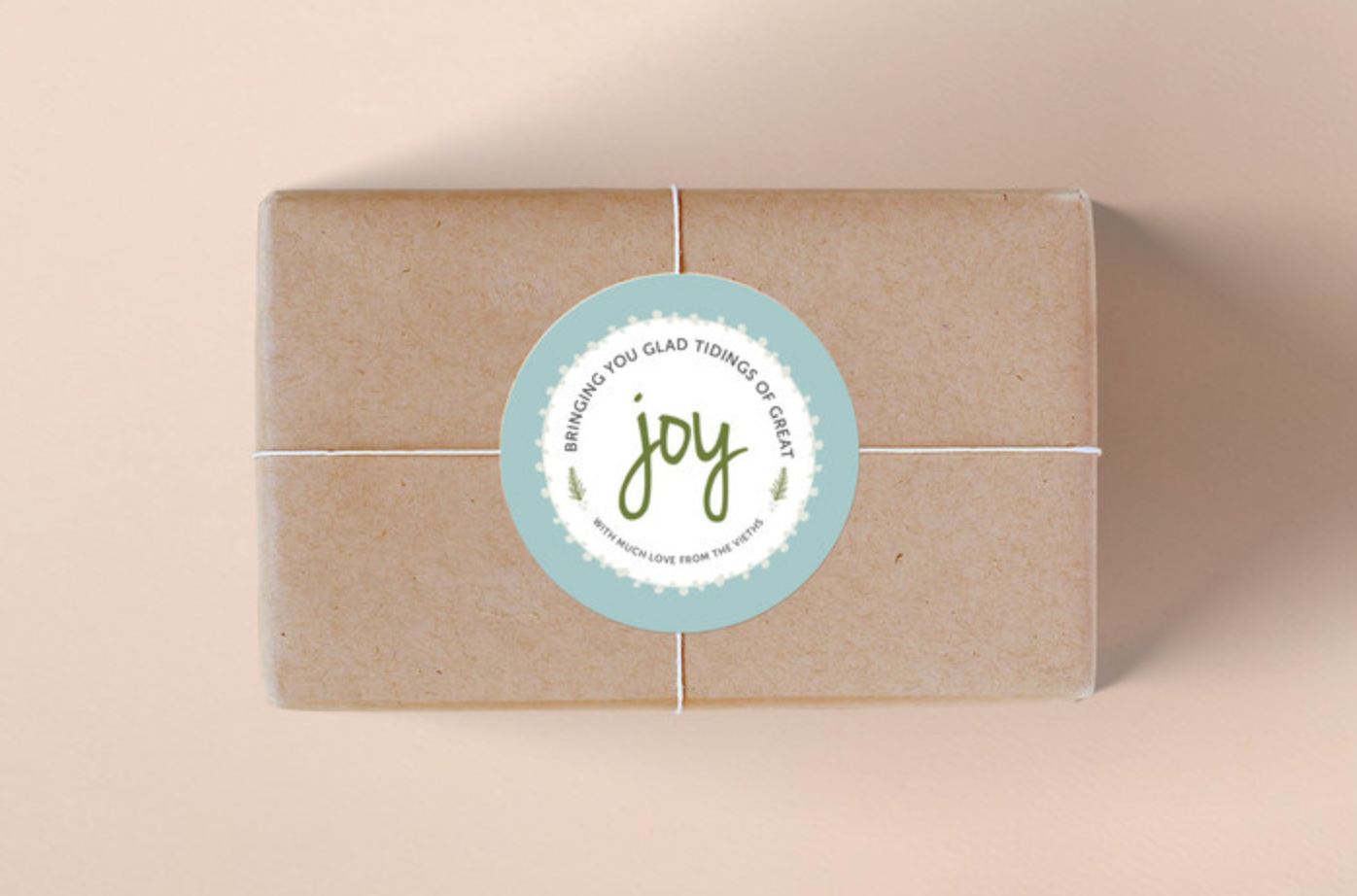 Wrapped with Joy Personalized Sticker in Frost