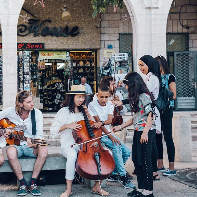 Some of the musicians interacting and teaching kids in #bethlehem @musiconthewind 2018