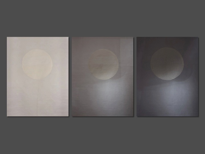 Triple Moon installation    Honeycomb embroidery on cotton organdy panel - 2014