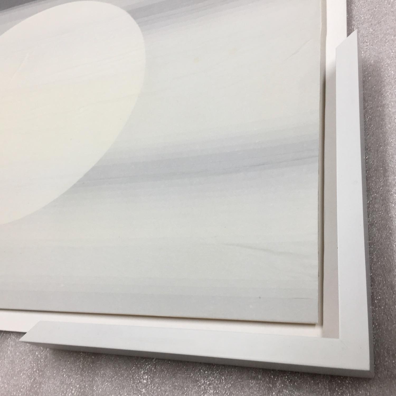 Moon Floating (Framed detail)   Tissue on paper, 51cm x70cm, 2015