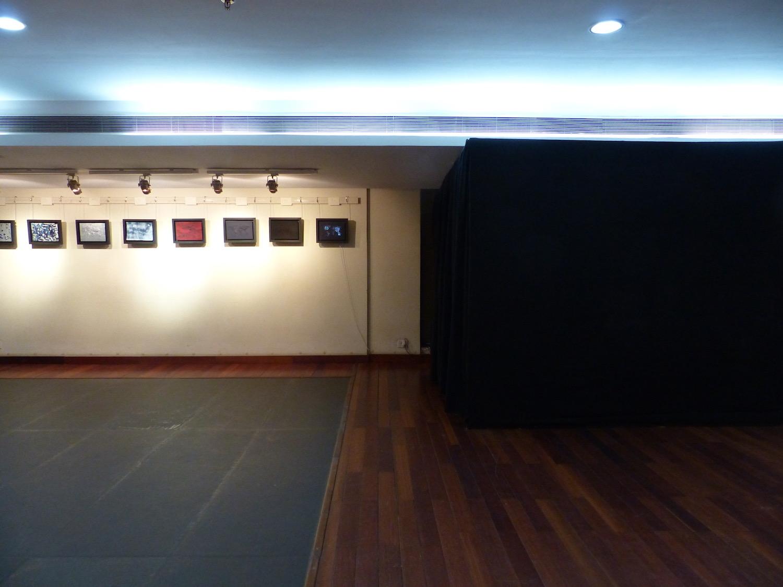 Indigo Light   Installation at The Jamini Roy Gallery, Kolkata  Blackout Installation box beside works on paper, 2017