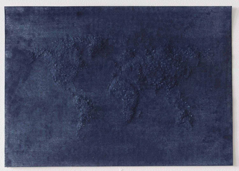 World               Indigo on hand pierced paper          ,   21cm x 29.5cm          ,   2017