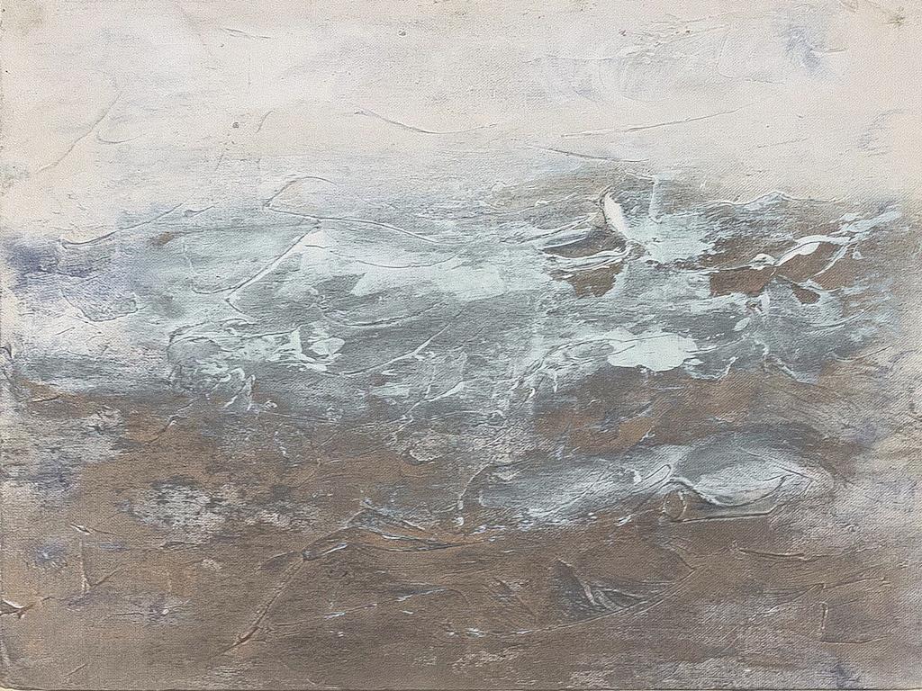 Study in Light   Acrylic medium and silver gild on canvas board.  30cm x 39cm,