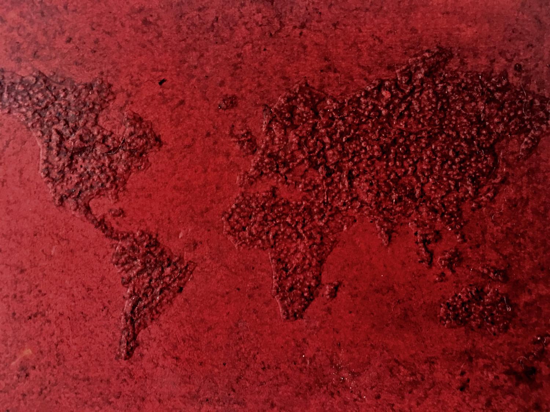 World , cochineal on hand pierced card, 15cm x 10cm