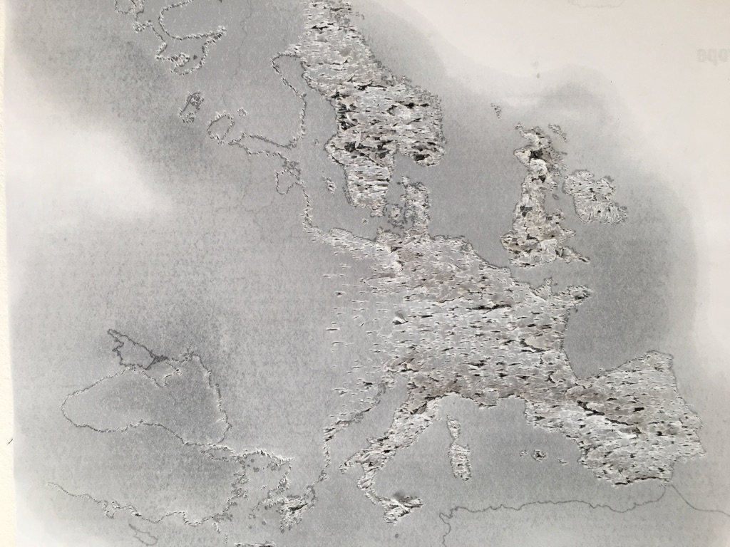 World - Oil on pierced & printed paper - 29cm x 21cm