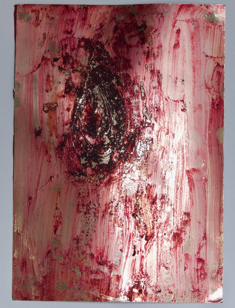 Wound study, cochineal on pierced gold card - 21cm x 29cm - 2015