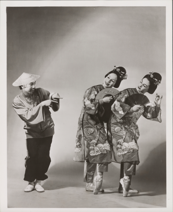"""George Li, Gloria Vauges, and Janice Mitoff in the Chinese Dance, """"Tea,"""" in Balanchine's  The Nutcracker , 1954. Photo by Frederick Melton."""