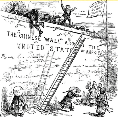 A political cartoon around the Chinese Exclusion Act of 1882