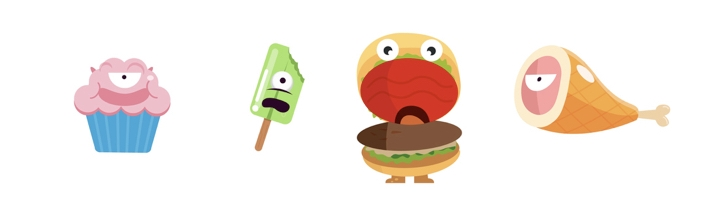 The client wanted to make bad food in the beginning. Later on we decided to have cute food only.