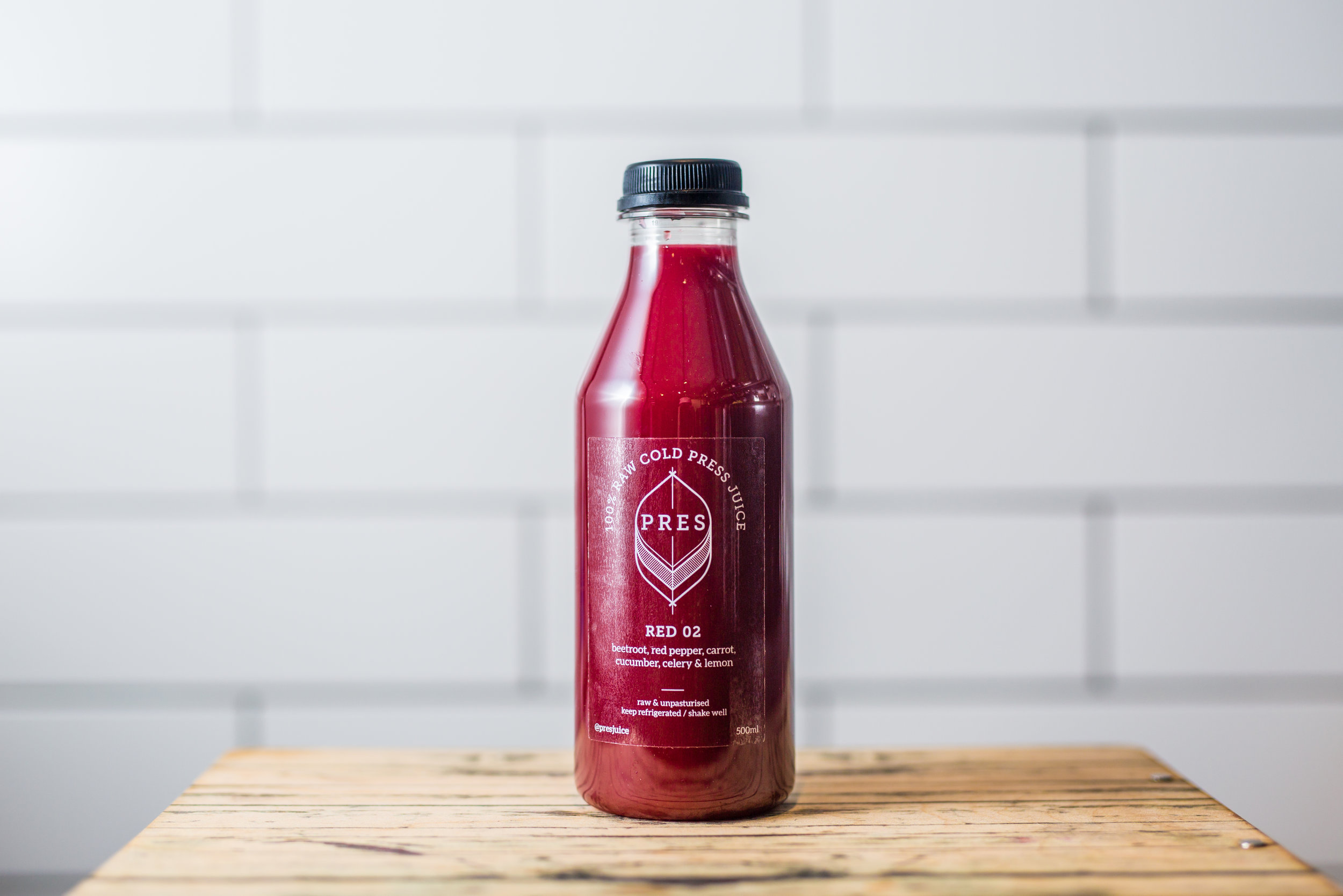 THE RED JUICES - RED ONE - Beetroot, Carrot, Apple, Cucumber, Celery, LemonRED TWO - Beetroot, Red Pepper, Carrot, Cucumber, Celery, Lemon