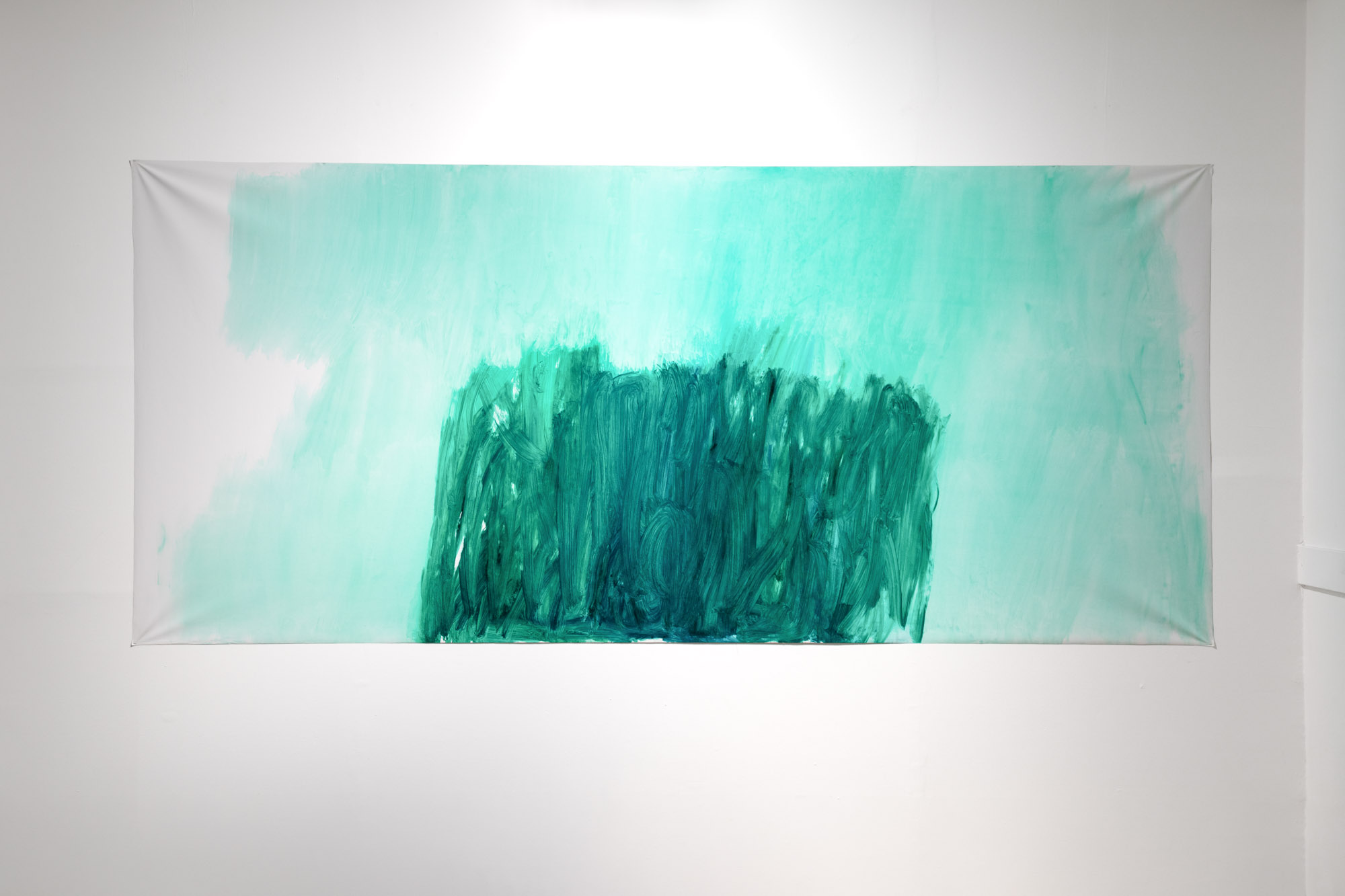 Green, oil on canvas, 160 x 350 cm, 2019 (Children in the Apple Tree installation in Most)