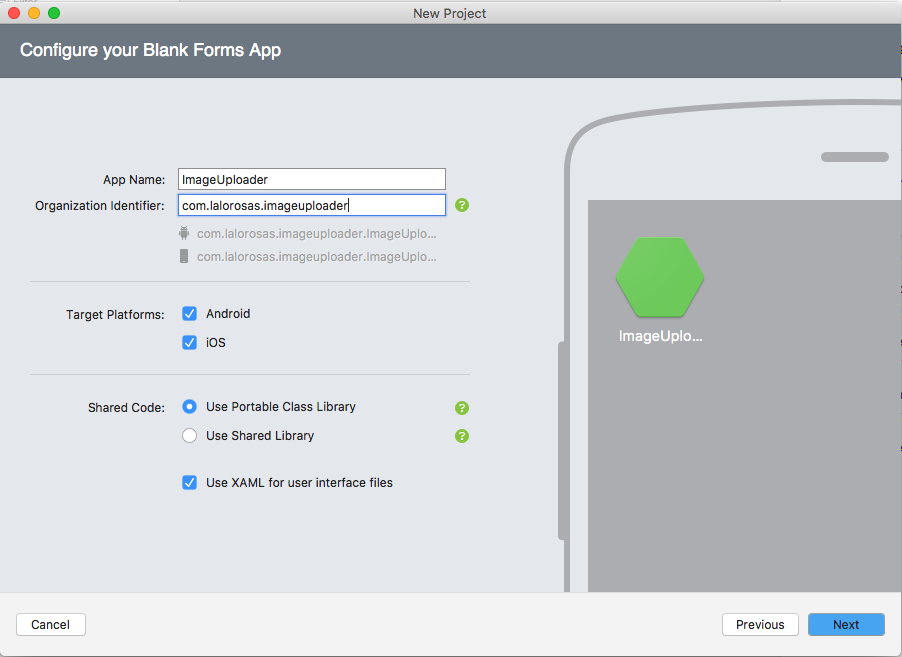 The selections needed when creating a Xamarin Forms project in Visual Studio for Mac