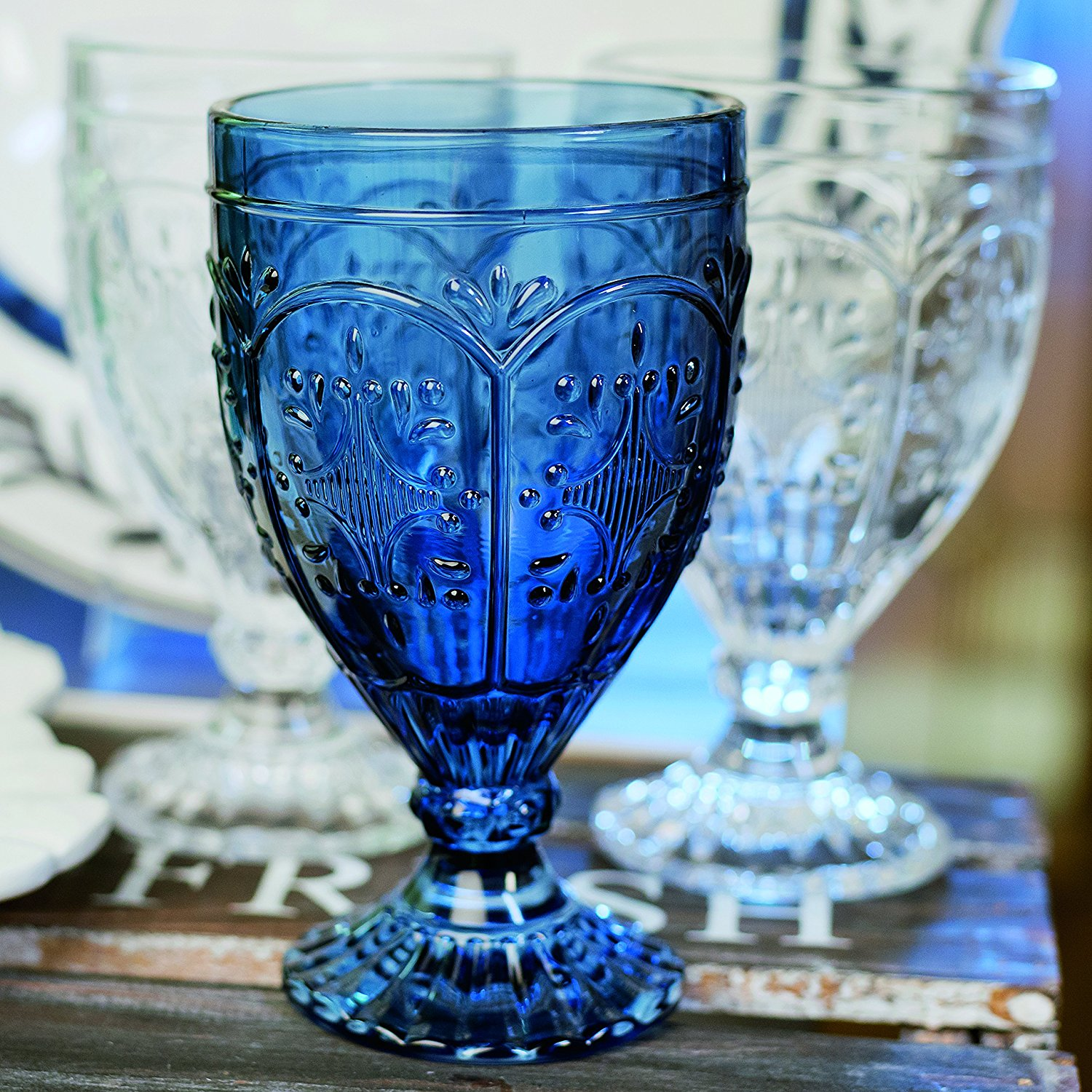 indigo goblet   Size: 12 oz  Price: $1.75  Quantity Available: 160