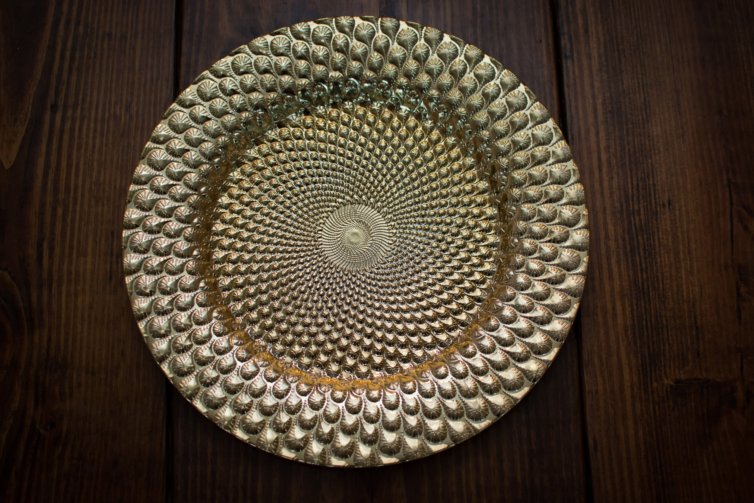 gold peacock charger plate   Material: acrylic  $1.75 Per Plate  Inquire about quantity and availability