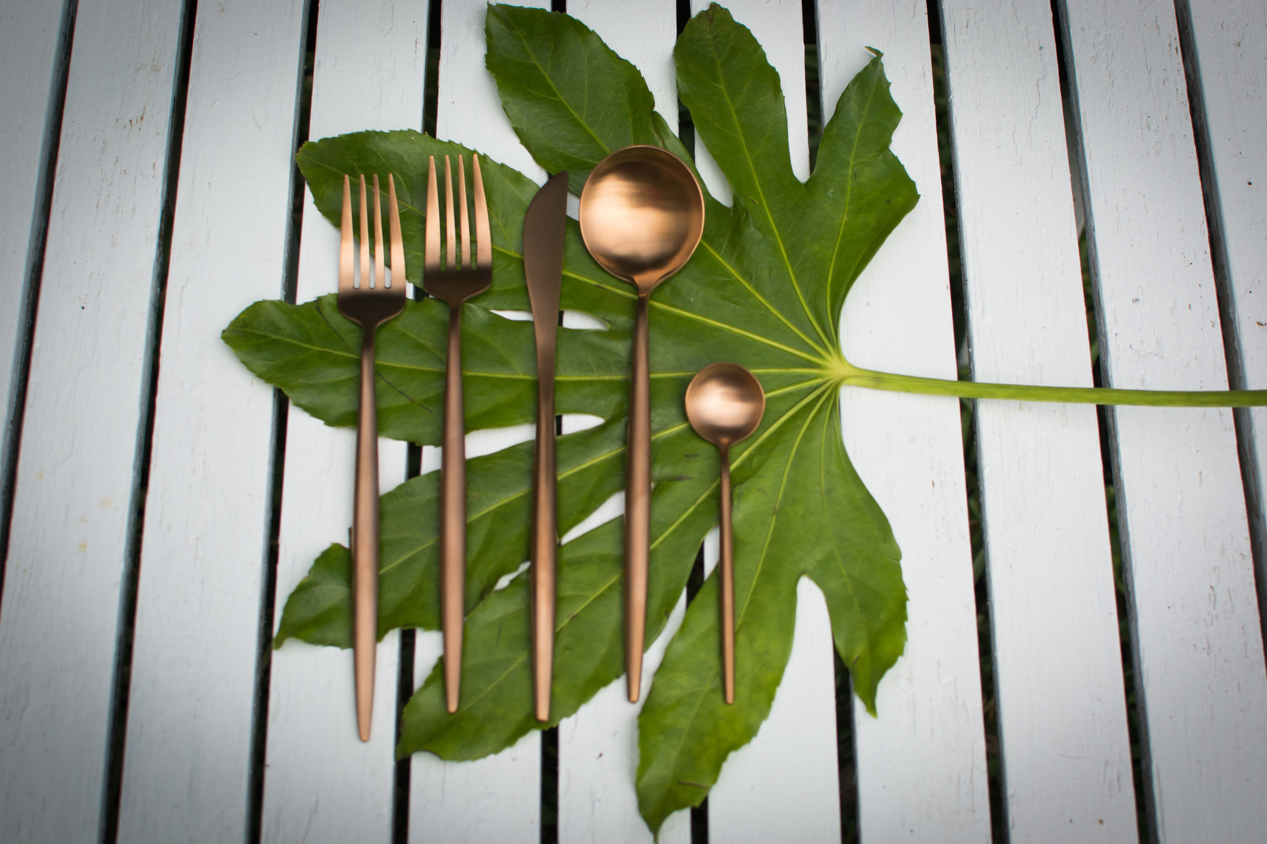 Rose gold flatware   Salad fork, dinner fork, dinner knife, soup spoon, tea spoon  $1.00 Per Piece  Inquire about quantity and availability