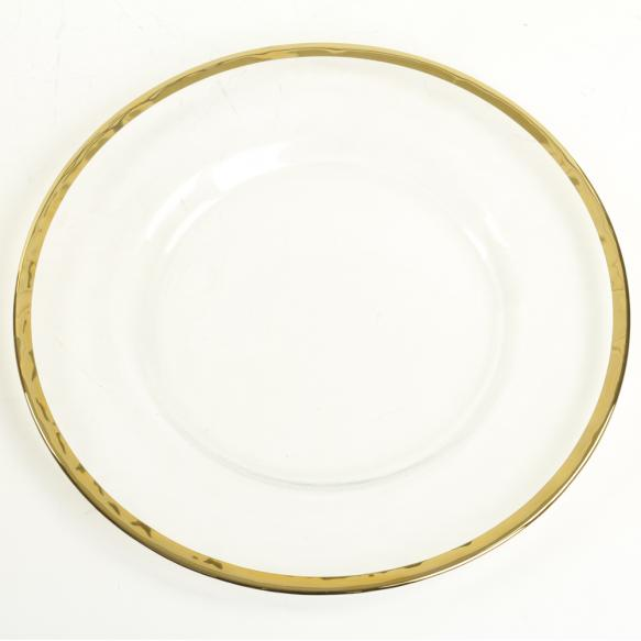 GLass Gold Trimmed Charger Plate   Material: glass  $3.75 Per Plate  Inquire about quantity and availability