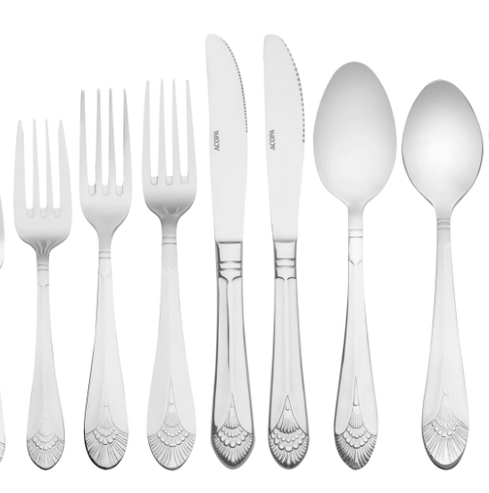 silver flatware   Salad fork, dinner fork, dinner knife, soup spoon, desert spoon  $.60 Per Piece  Inquire about quantity and availability
