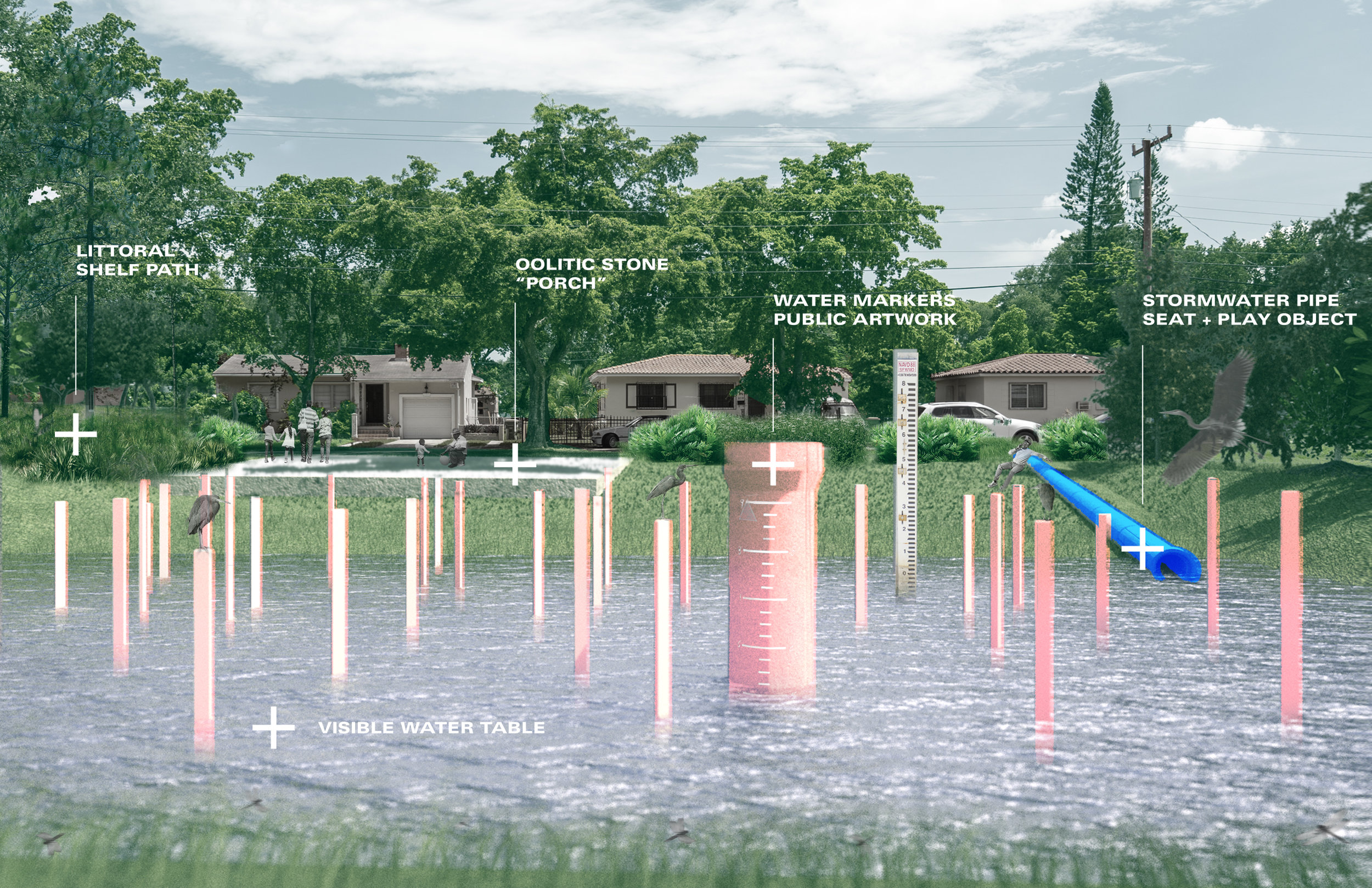 """Good Neighbor"" is a design concept by  Department Design Office . The concept features the creation of a retention pool to collect rainwater and help alleviate flooding on neighboring properties. Visible markers and artwork help inform the community about flooding events. Native plant areas and seating are also featured within the design."