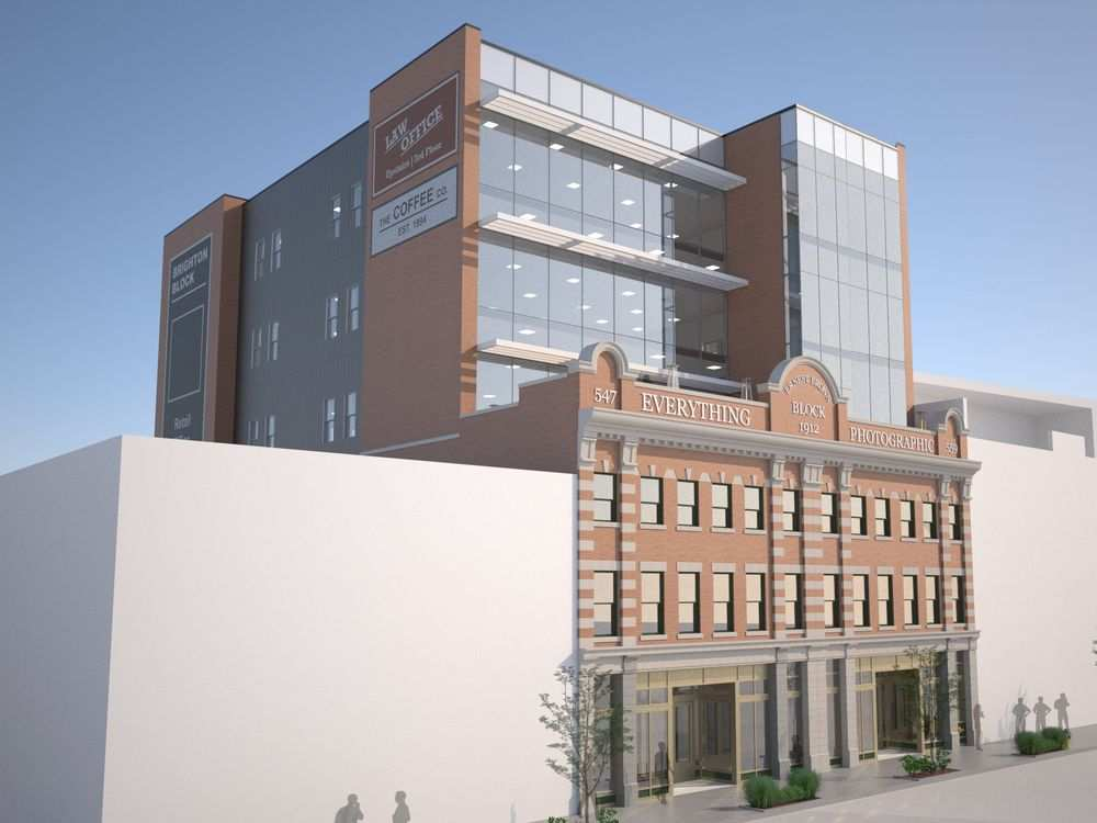 Artist's renderings of proposed additions and renovations to the Brighton Block also known as the Ernest Brown Block on Jasper Avenue and 96 Street. Courtesy Hodgson Schilf Evans Architects EDMONTON