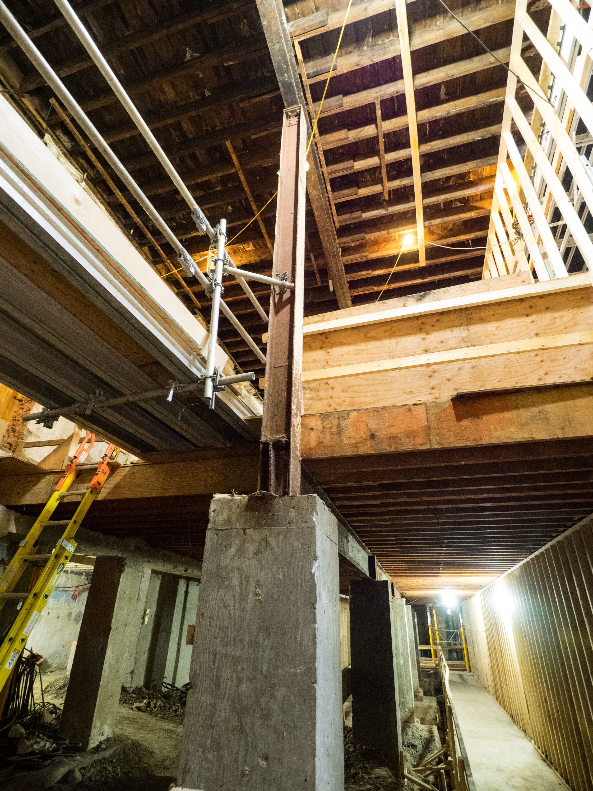 Temporary falsework currently supporting the interior, photo by Dave Sutherland