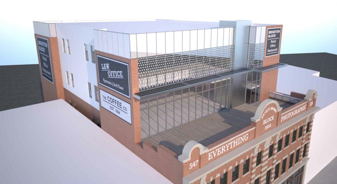 Brighton Block, modern office addition, image courtesy Primavera Development Group